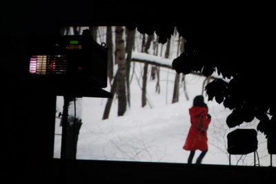 Projection en plein air de Rouge Gorge de Marie Pascale Dubé
